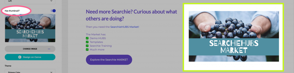 SearchieHUB Call to Action section with a Thumbnail